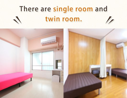 There are single room and twin room.